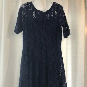 Navy lace holiday dress